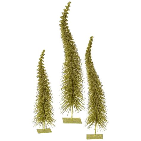 vickerman 33300 12 quot 14 quot 16 quot olive glitter curved tree
