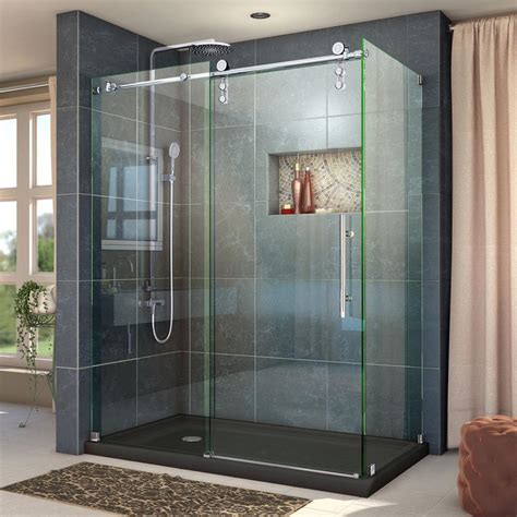 Bathroom Frameless Glass Shower Doors Dreamline Enigma Z 44 3 8 To 48 3 8 In W X 34 1 2 In D X 76 In H Frameless Sliding Shower