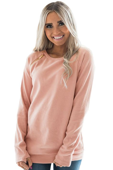 Zip Detail Pullover wholesale gold zip detail pink pullover sweatshirt