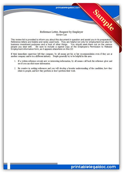 Reference Letter From Employer To Real Estate Free Printable Reference Letter Request By Employer Form Generic