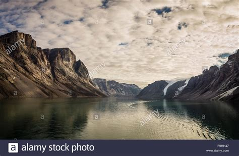 fjord canada icy fjord northeast fjords baffin island canada stock