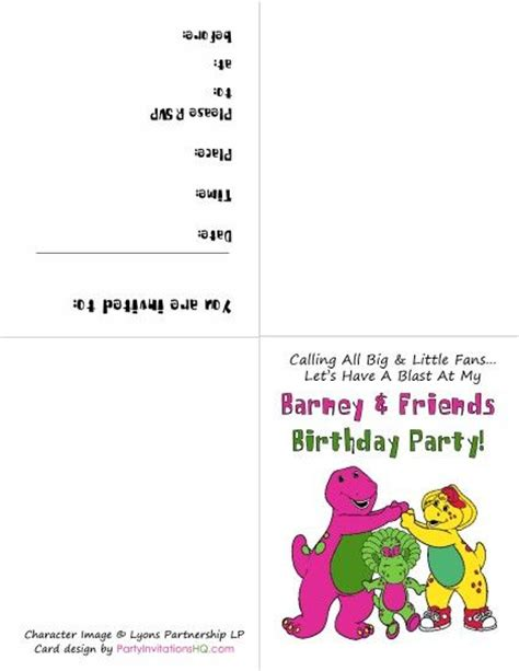 barney party free printable and invitations on pinterest