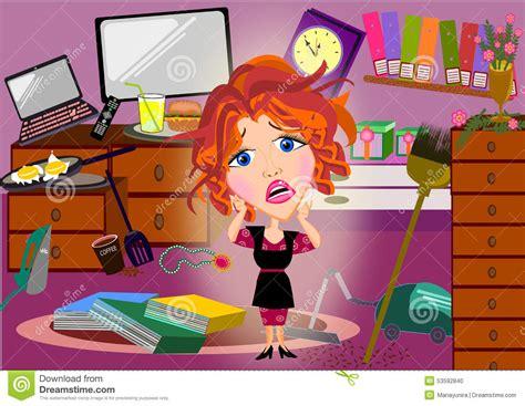 messy bedroom cartoon overwhelmed mother cartoon stock illustration image of