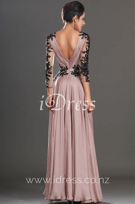 Your Budget With These Con Galaxy Style Dresses by Sleeve Black Lace Appliqued V Neck Pink Chiffon