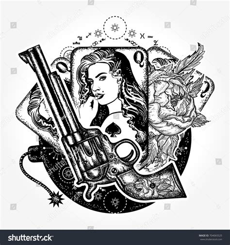 wild card tattoo west tshirt design revolver stock vector