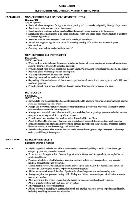 Instructor Resume by Instructor Resume Sles Velvet