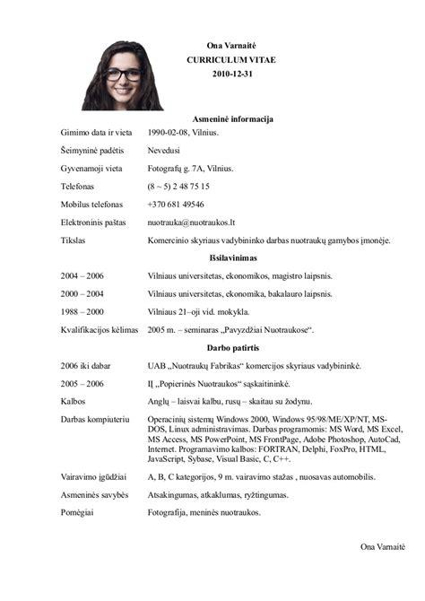 cv su nuotrauka pavyzdys word doc pdf