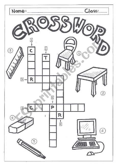 crossword classroom objects esl worksheet by quietman