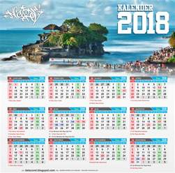 Calendar 2018 Indonesia Vector Bali Kalender 2018 Indonesia Cdr File Corel Draw Corel