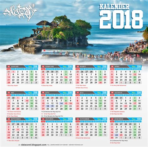 Kalender 2018 Bali Bali Kalender 2018 Indonesia Cdr File Corel Draw Corel