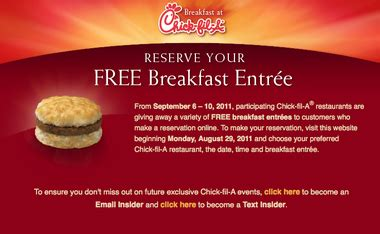 make reservations for a free chik fil a breakfast