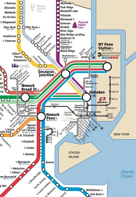 nj path map nj transit rail map my