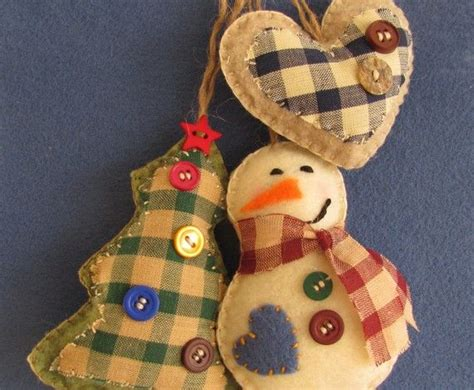 Handmade Country Ornaments - country felt and fabric ornaments