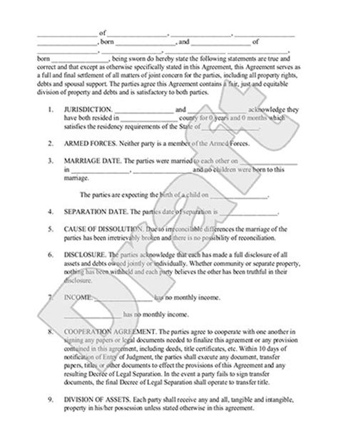 Legal Marriage Separation Agreement Template With Sle Separation Papers Template