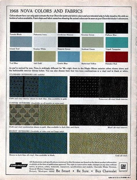 Classic Car Interior Upholstery 1968 Nova Specs Colors Facts History And Performance