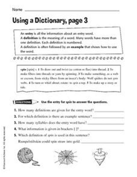 using a dictionary page 3 worksheet for 3rd 4th grade