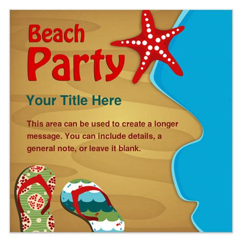 beach party invitations cards on pingg com