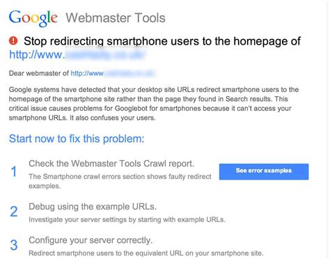 google images redirect notice google webmaster tools notifications for faulty redirects