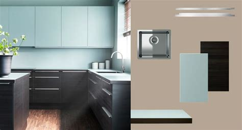 faktum kitchen with gnosj 214 black wood effect doors drawers