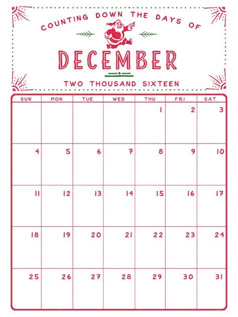 printable calendar december december 2016 printable calendar pinteres