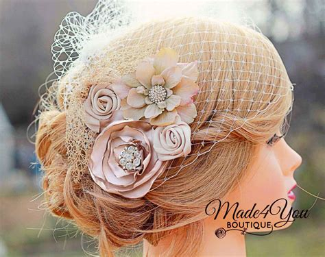 Wedding Headpiece White And Gold chagne birdcage veil gold and chagne bridal fascinator wedding headpiece plum idealpin