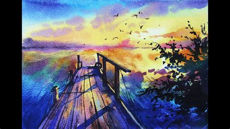 water color sunset watercolor painting quot sunset quot