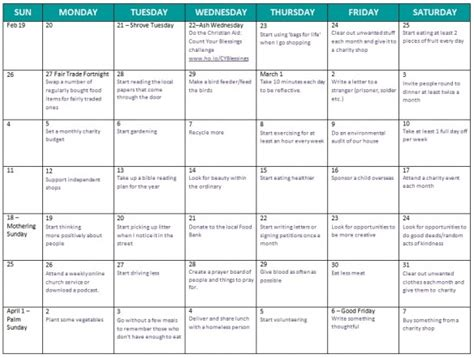 40 day calendar template 40 days of lent calendar calendar template 2016