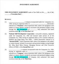 investor financing agreement template sle investor agreement pdf backuperheritage