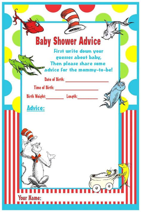 dr seuss post card templates dr seuss baby shower invitations printable free
