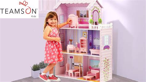 4 dollhouse dolls pink dollhouse mansion for baby dolls
