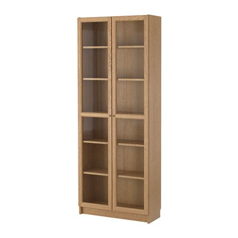 billy oxberg bookcase oak 80x202x28 cm ikea
