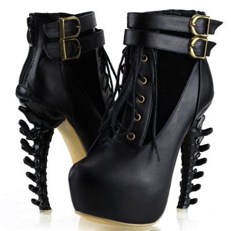 show story black lace up buckle high top bone high heel