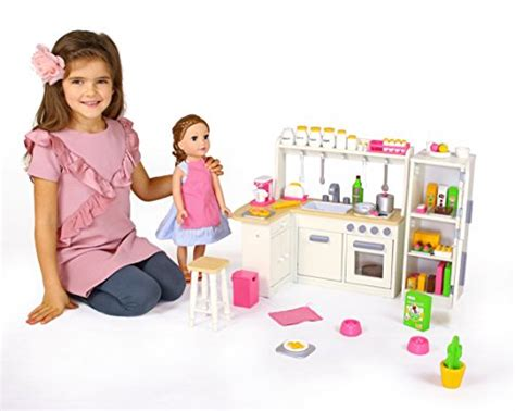 18 inch doll furniture kitchen set w refrigerator and