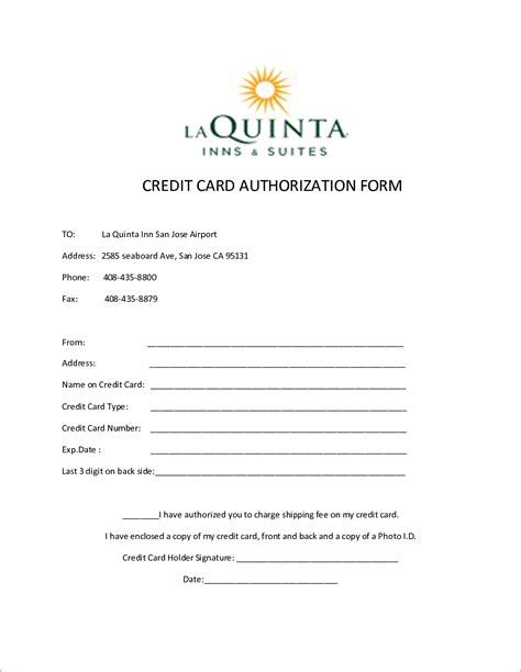 Credit Card Incompetant Form Template by Hotel Credit Card Authorization Form 68218447 Png