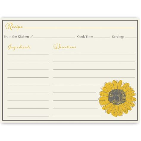 sunflower recipe card template 1000 ideas about rustic bridal shower invitations on