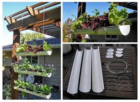 Vertical Gutter Garden How To Make A Hanging Gutter Garden Home Design Garden