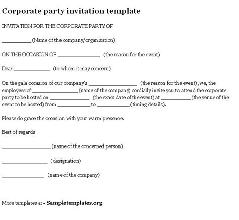 Corporate Party Invitation Templates Employee Invitation Template