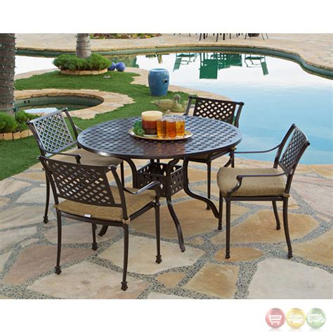 charleston 5 cast aluminum outdoor dining set with