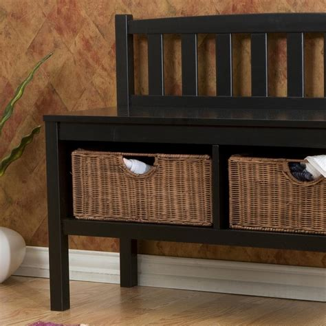 brown storage bench with baskets sei black bench with two brown rattan baskets