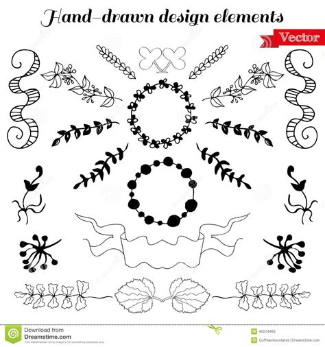 design elements for loading in vector from stock 25 eps hand drawn design elements stock vector image 40014455