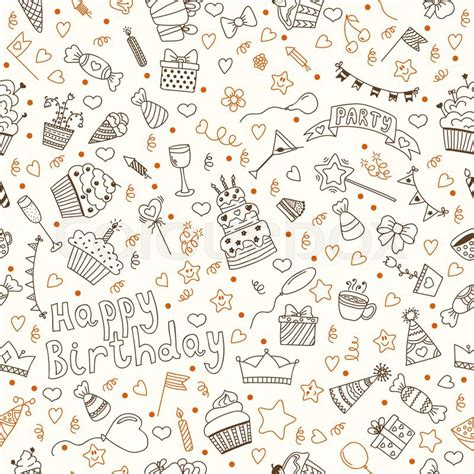 birthday pattern pink vector hand drawn seamless pattern with birthday elements vector