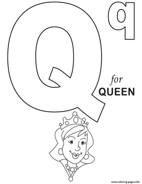 preschool queen coloring page q is for queen alphabet sd5d7 coloring pages printable