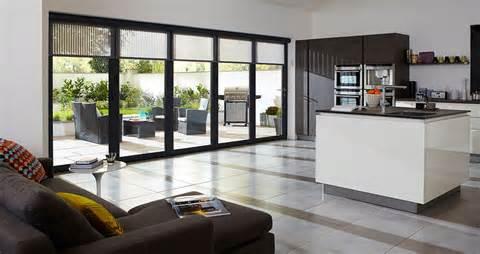 Range of external blinds giving a neat finish to bi folding doors