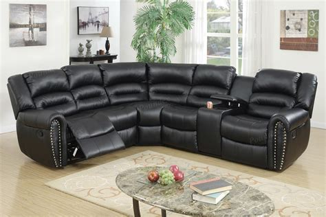 3 Pcs Reclining Sectional Black Leather Sofa Set Black Leather Recliner Sofa Set
