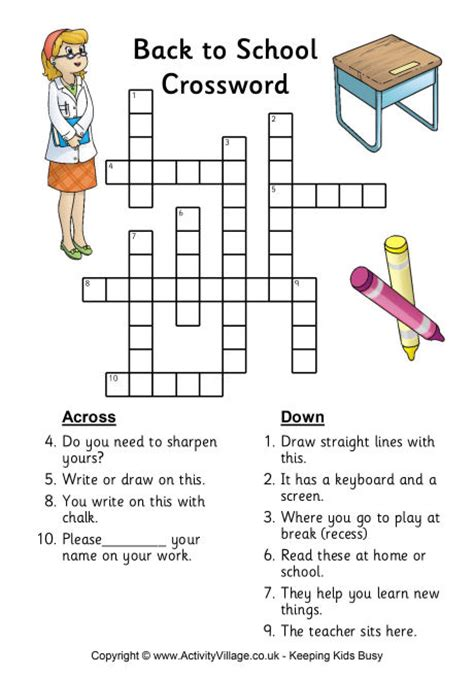 printable worksheets back to school back to school crossword printables back to school