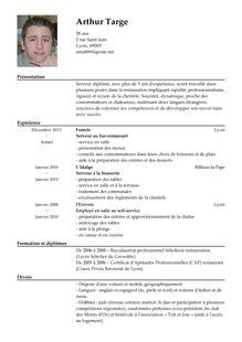 Lettre De Motivation Barman En Anglais Modele Cv Barman Cv Anonyme