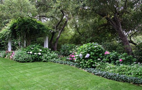 back yard shade garden traditional landscape santa