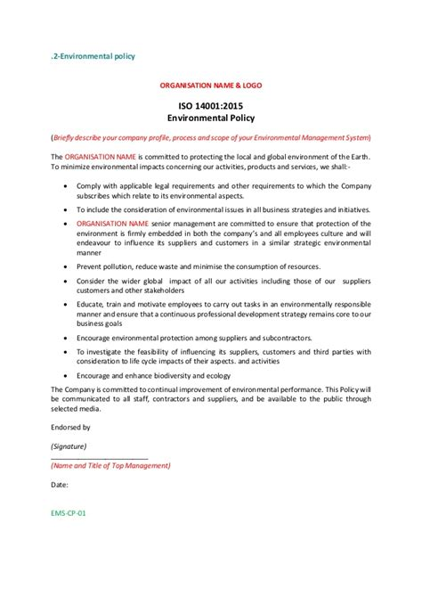 environmental policy template iso 14001 2015 policy statement exle