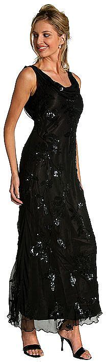 Dress D1016 cowl neck sequined formal dress with floral beading d1016