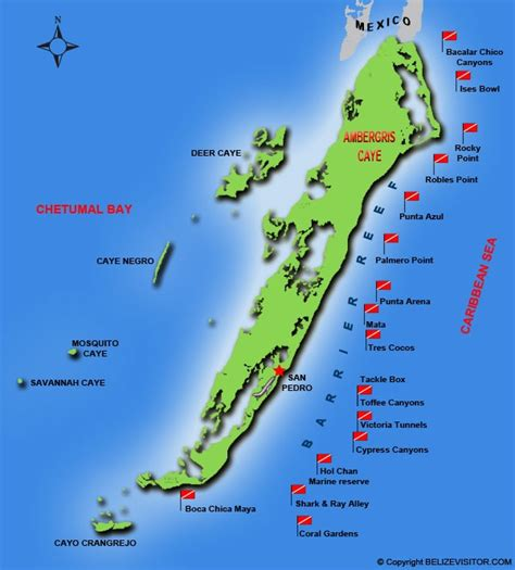 ambergris caye dive resort ambergris caye map including dive spots looking forward